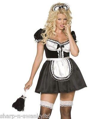 Ladies Sexy French Maid Rocky Horror Plus Size Fancy Dress Costume