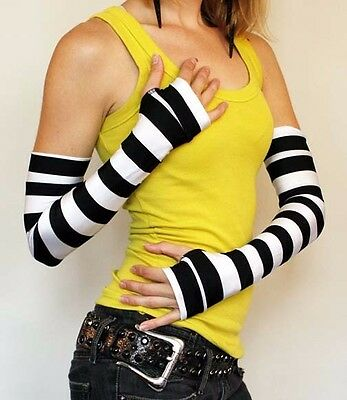 Long Black White Striped Gloves Steampunk Costume Arm Warmers Sleeves Covers A25