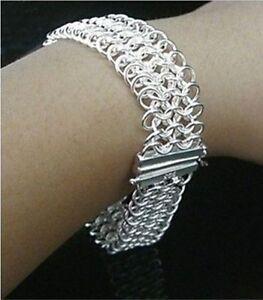 XMAS GIFT Wholesale cheap Jewelry Women/men Solid 925Silver Chain Bracelet+Box