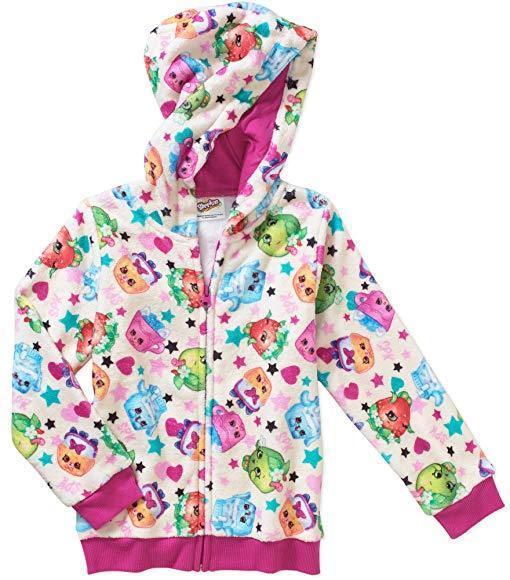 NWT Shopkins Little Girls Full Zip Fleece Lined Hoodie Size