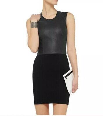 Helmut Lang Leather & Knit Sleeveless Black Dress Women's Size Small NWT $495