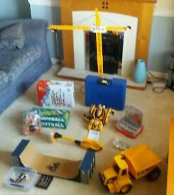Kids toys boys and girls. Tech decks, crane, truck, arcade machine, marble run, K'nex