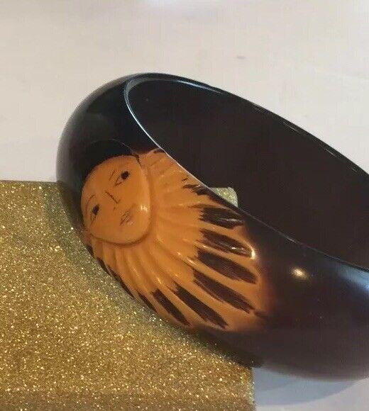 Maroon Carved PIERROT Bakelite Bangle Bracelet