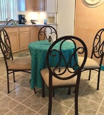 4 Pc Metal Dining Side Chairs Upholstered Suede Seat Iron Scrolled Brown Beige ()