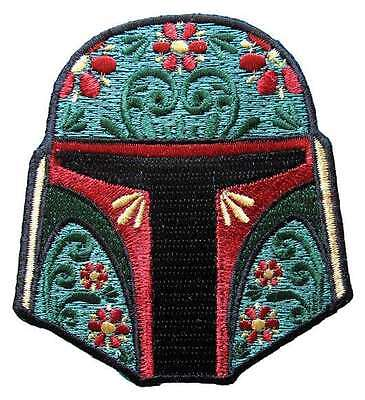 Star Wars Boba Fett Floral Helmet Embroidered Patch
