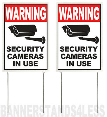 8x12 Inch Warning Security Cameras In Use Yard Sign With Stake Vwb 2 Pack