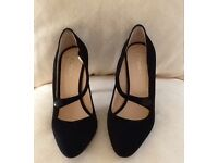 For sale Hobbs new black heeled suede shoes, never been worn