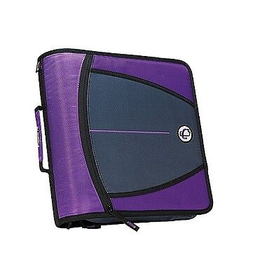 New Case-it XL 3 Ring 3 INCH Zipper Binder with 5-Tab File Folder, PURPLE