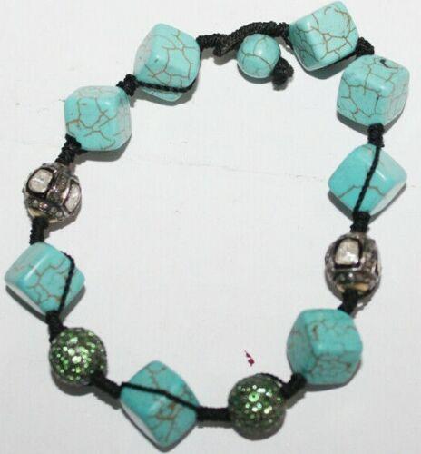 3.50ct Polki Rose Cut Diamond Antique Look 925 Silver Turquise Gemstone Bracelet