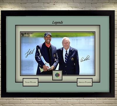 New Tiger Woods Arnold Palmer signed autograph Legend Golf Memorabilia Framed