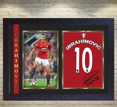 Zlatan Ibrahimovic signed Manchester United Football Memorabilia Framed # 010