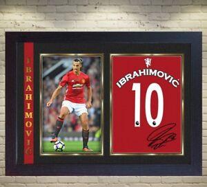 Zlatan Ibrahimovic signed Manchester United Football Framed print   010 6b9c8e06b