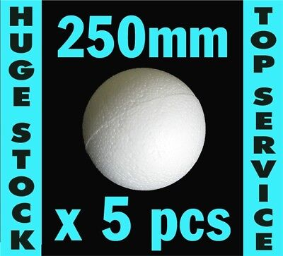 Polystyrene Balls in 2 HOLLOW HALVES: 5 balls x 250mm