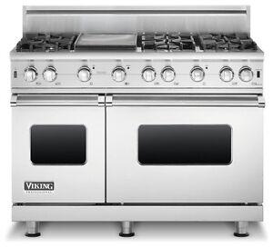 Combo cuisiniere au gaz professionnelle Viking + Hotte en stainless