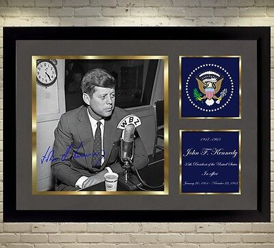 John F Kennedy U S A President signed autograph photo picture WITH FRAME