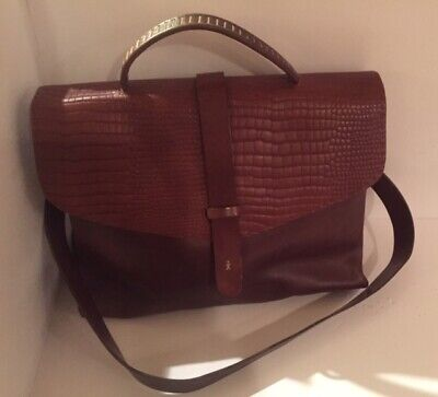 HENRY BEGUELIN Brown Leather Brief Case Messenger Crossbody Bag Attache # 1999