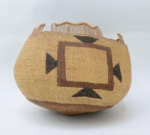 """Very Large Karuk / Yurok Indian Basket   11 1/2"""" x 14""""  c. 1880-1910"""
