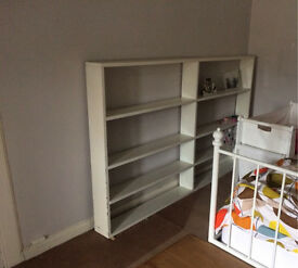 Wide bookcase - wooden, painted