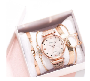 Flower Rhinestone Watch Ladies quartz wrist watch Bracelet set