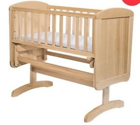 Pine swinging crib with waterproof mattress