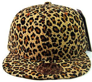 5ac48ab7cd9 ANIMAL PRINT SNAPBACK HAT CAP FLAT BILL CHEETAH PATTERN LEOPARD FAUX BLACK  BROWN