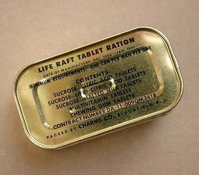 Vintage Life Raft Tablet Ration - Navy Survival Tin - Chicklets, Charms Candy Co