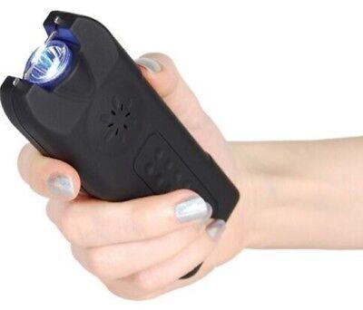 Police Stun Gun Rechargeable Siren Alarm Led Flashlight Taser Case Women Defence