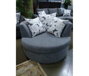Bristol  SWIVEL  cuddle chair, over 100 fabrics,,made in BC