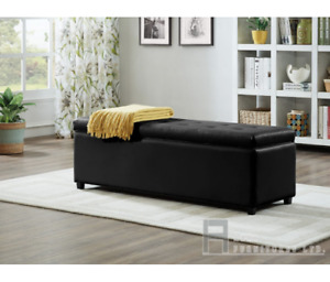 Luxe stoarage ottoman, black or white leatherette, in stock