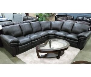 Belladonna sectional with xtra seat, top grain leather seating,