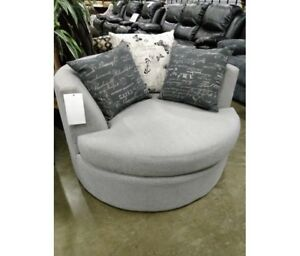 Swivel cuddle chair, 100 fabrics, MADE IN BC, includes pillows