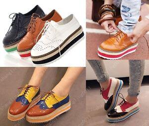 Womens-Fashion-Lace-Up-Oxford-Flat-High-Platform-Shoes