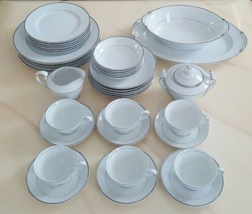 40 PC DINNERWARE HARMONY HOUSE FINE CHINA SILVER MELODY JAPAN 3647 SERVICE FOR 6
