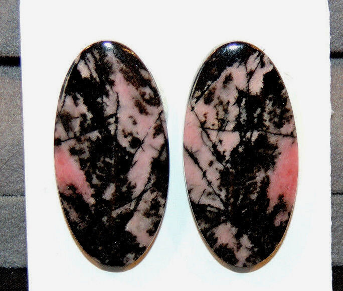 Pink Rhodonite Cabochons 30x15mm with 4.5mm dome set of 2 (10235)