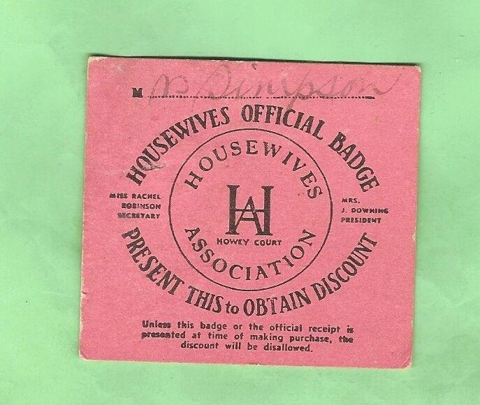 #D18. 1944 HOUSEWIVES ASSOCIATION OPTICIANS DISCOUNT CARD , MELBOURNE