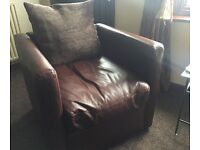 ***Leather cube chair***
