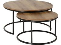 AVAILABLE NOW New dark industrial round nest (pair) of coffee tables only £85