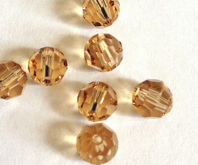 30 Swarovski Vintage 5000 6mm Crystal Light Colorado Topaz Faceted Round Beads