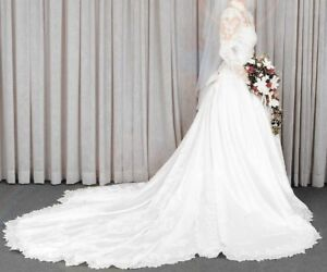 White Satin Wedding Gown with Train and Veil - Size 6
