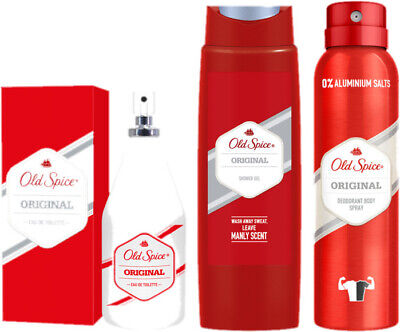 SET Old Spice für Männer Duft Original Eau De Toilette, Duschgel, Deo-Bodyspray