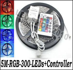 1-X-5M-3528-RGB-NO-Waterproof-Flexible-Strip-300-LED-60leds-M-24-key-Remote