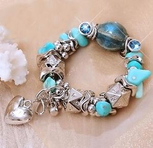Lovely-Heart-Blue-Silver-Stone-Crystal-Charm-Bracelet-Jewellery-For-Women-Girls