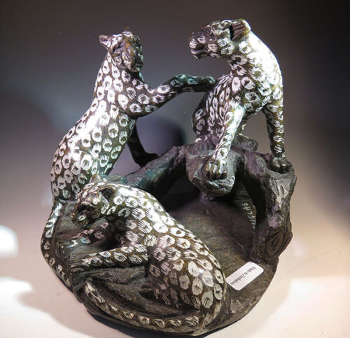 "5.8"" Black Jade Gemstone Spotted Leopards Cheetah Carving from Zimbabwe *0158"