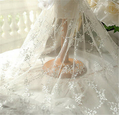 Vintage Marfil Bordado Vestido de Novia Encaje Tela Encordado Bricolaje Tul 0.5m