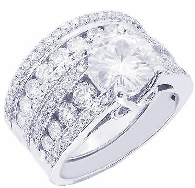 GIA H-SI1 14K White Gold Round Diamond Engagement Ring And Band Art Deco 3.55ct