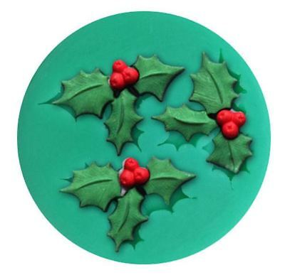 Holly Leaves 3 Cavity Mini Silicone Mold for Fondant, GP, Chocolate, (3 Leave Holly)