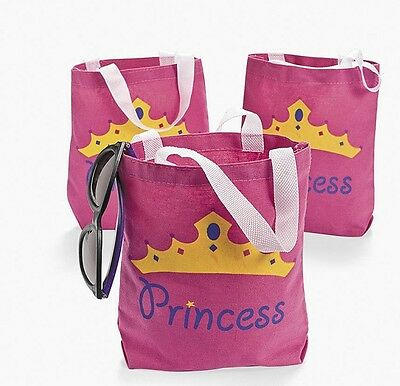 6 fairy PRINCESS Canvas Tote Goodie Bags Party favors Girl