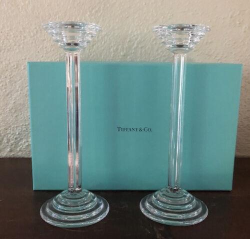 Riedel Tiffany & Co Pair Crystal Candlesticks Art Deco Modern W/Box EC