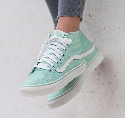 79eeb5fd474c VANS Sk8 Hi Slim Gossamer Green Blanc de Blanc Skate Shoes WOMEN S Size 7