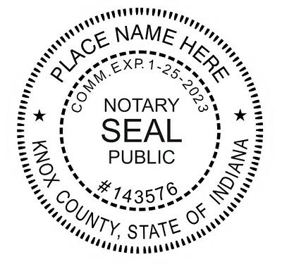 Notary Indiana Custom - Round Self-inking Notary Seal Rubber Stamp Ideal 400r
